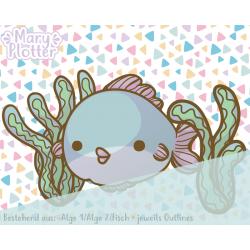 Fisch mit Algen Digital Stamp