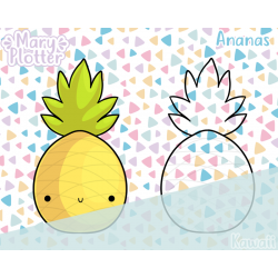 Kawaii Ananas Digital Stamp