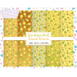 Kawaii Ananas Digital Paper